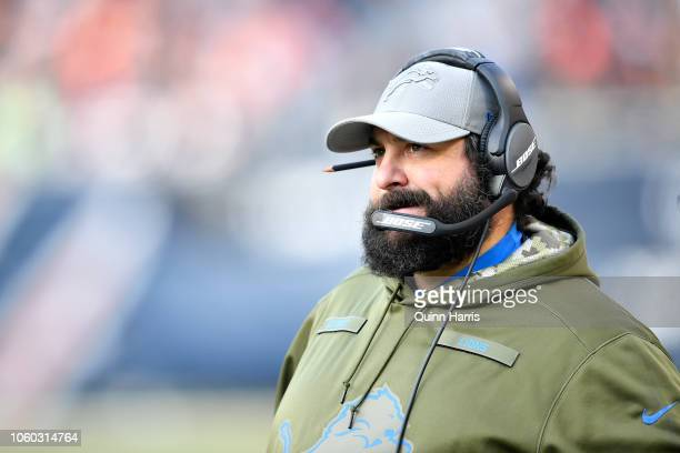 Head coach Matt Patricia of the Detroit Lions watches the action against the Chicago Bears from the sidelines at Soldier Field on November 11 2018 in...