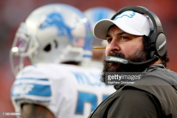 Head coach Matt Patricia of the Detroit Lions works the sidelines against the Denver Broncos at Empower Field at Mile High on December 22, 2019 in...