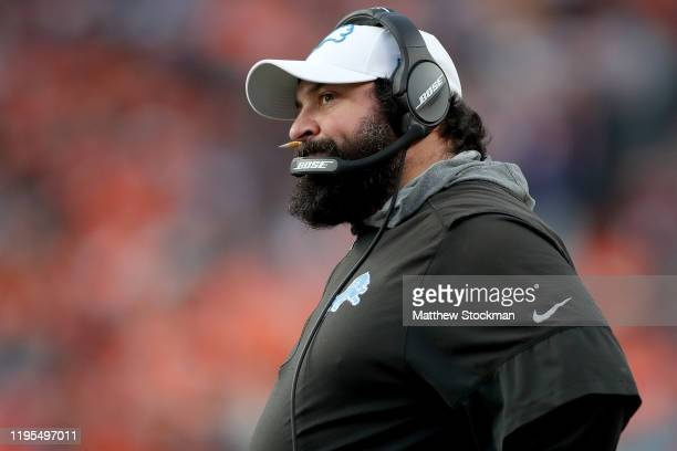 Head coach Matt Patricia of the Detroit Lions works the sidelines against the Denver Broncos at Empower Field at Mile High on December 22 2019 in...