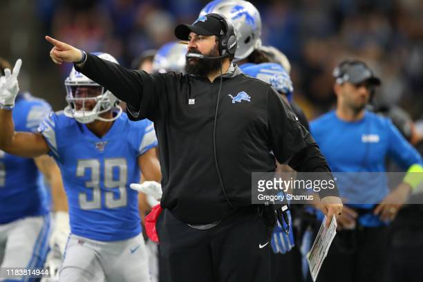Head coach Matt Patricia of the New York Giants looks on during the second half while playing the New York Giants at Ford Field on October 27 2019 in...