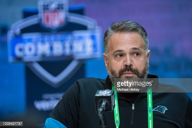Head coach Matt Rhule fo the Carolina Panthers speaks to the media at the Indiana Convention Center on February 25 2020 in Indianapolis Indiana Matt...