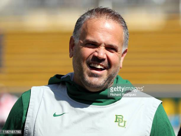 head coach Matt Rhule of the Baylor Bears before the game against the Texas Tech Red Raiders on October 12 2019 in Waco Texas