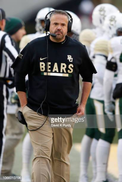 Head coach Matt Rhule of the Baylor Bears coaches from the sidelines in the first half of play at Jack Trice Stadium on November 10 2018 in Ames Iowa...