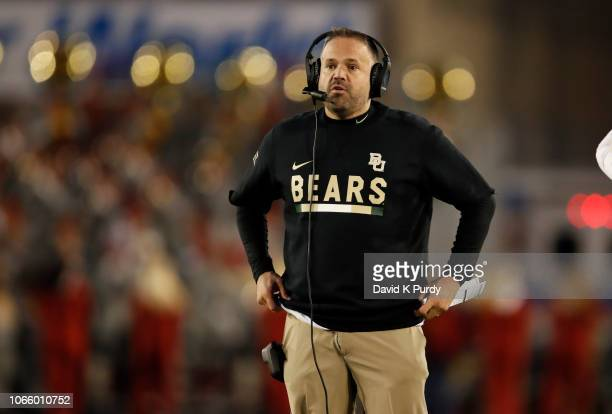Head coach Matt Rhule of the Baylor Bears coaches from the sidelines in the second half of play at Jack Trice Stadium on November 10 2018 in Ames...