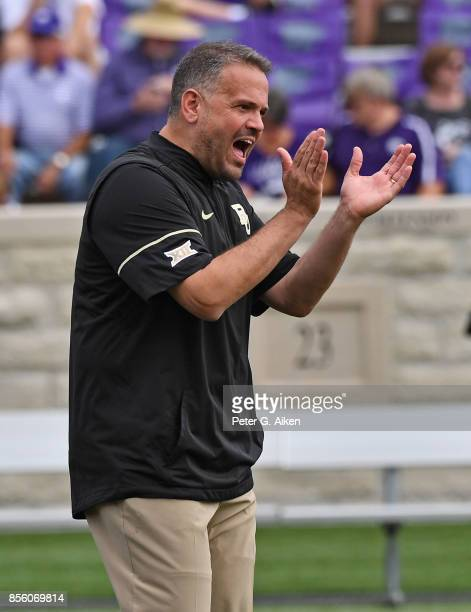Head coach Matt Rhule of the Baylor Bears during pregame activities against the Kansas State Wildcats on September 30 2017 at Bill Snyder Family...