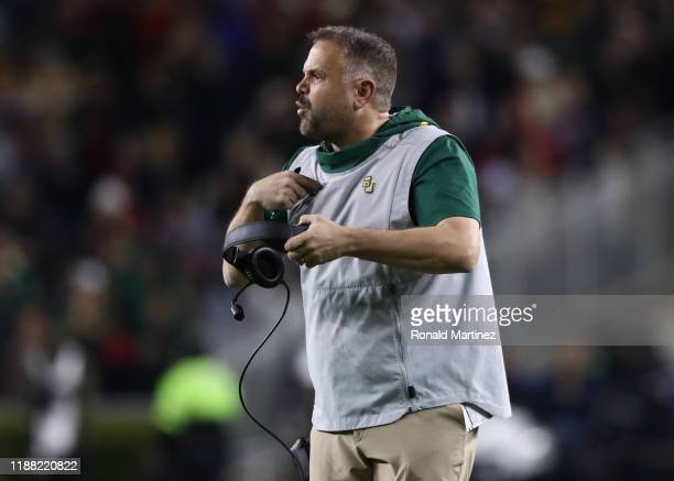 Head coach Matt Rhule of the Baylor Bears in the first half at McLane Stadium on November 16 2019 in Waco Texas