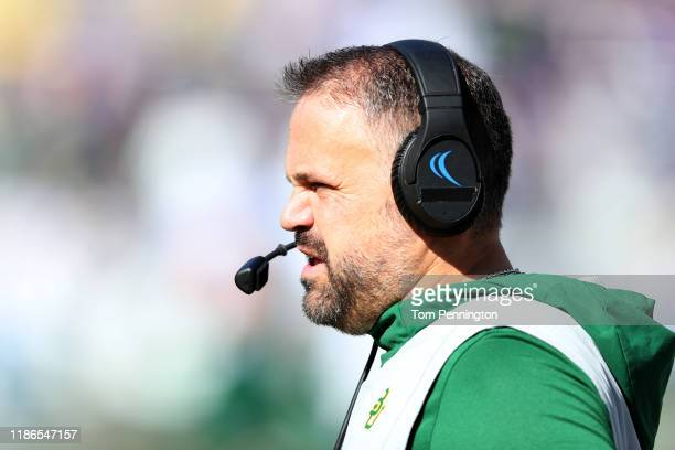 Head coach Matt Rhule of the Baylor Bears leads the Bears against the TCU Horned Frogs in the first quarter at Amon G Carter Stadium on November 09...