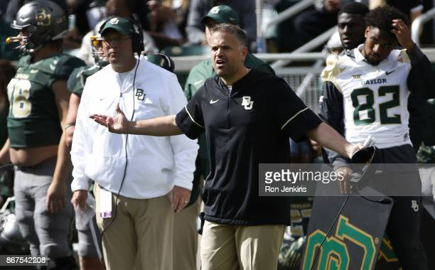 Head coach Matt Rhule of the Baylor Bears looks on as the Baylor Bears play the Texas Longhorns in the first half at McLane Stadium on October 28...