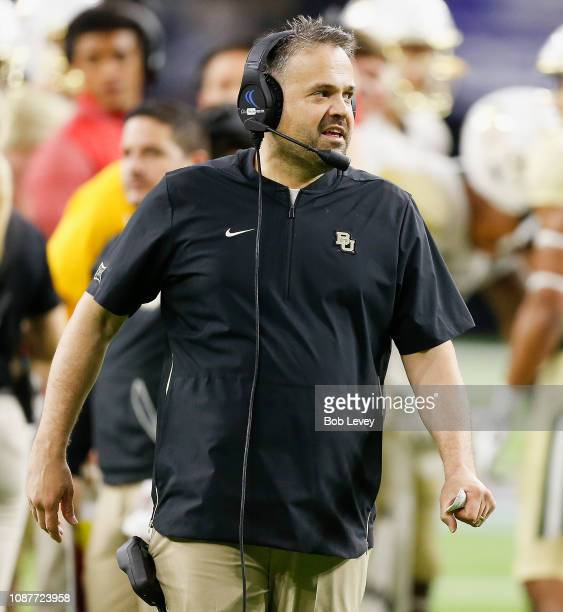 Head coach Matt Rhule of the Baylor Bears looks on during the fourth quarter in the Academy Sports Outdoors Texas Bowl at NRG Stadium on December 27...