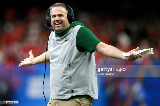 Head coach Matt Rhule of the Baylor Bears looks on during the Allstate Sugar Bowl against the Georgia Bulldogs at Mercedes Benz Superdome on January...