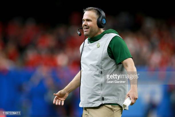 Head coach Matt Rhule of the Baylor Bears looks on during the Allstate Sugar Bowl at Mercedes Benz Superdome on January 01 2020 in New Orleans...