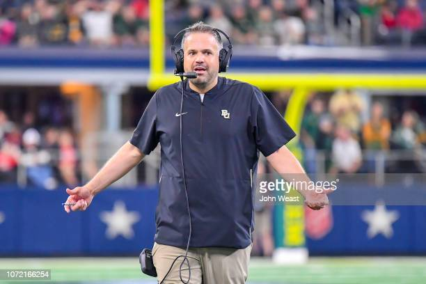 Head coach Matt Rhule of the Baylor Bears on the field at a time out during the game against the Texas Tech Red Raiders on November 24 2018 at ATT...