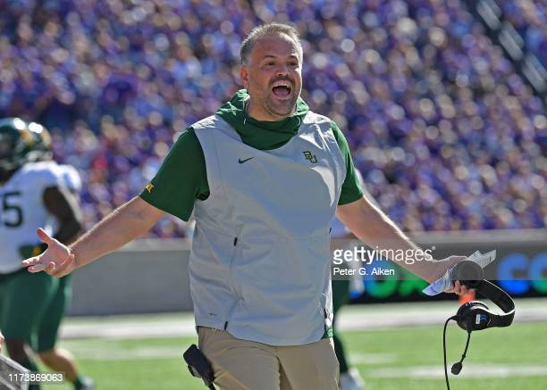 Head coach Matt Rhule of the Baylor Bears reacts after a play against the Kansas State Wildcats during the first half at Bill Snyder Family Football...
