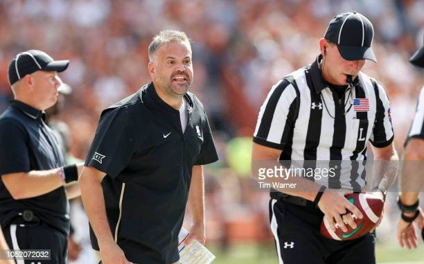 Head coach Matt Rhule of the Baylor Bears reacts on the sideline in the first half against the Texas Longhorns at Darrell K RoyalTexas Memorial...