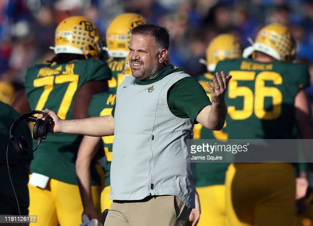 Head coach Matt Rhule of the Baylor Bears reacts on the sidelines during the game against the Kansas Jayhawks at Memorial Stadium on November 30 2019...