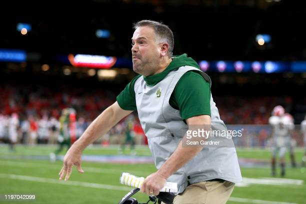 Head coach Matt Rhule of the Baylor Bears reacts to a play during the Allstate Sugar Bowl against the Georgia Bulldogs at Mercedes Benz Superdome on...