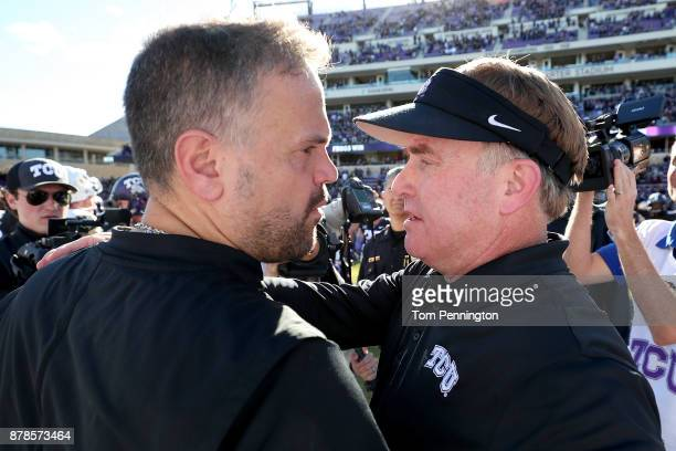 Head coach Matt Rhule of the Baylor Bears shakes hands with head coach Gary Patterson of the TCU Horned Frogs after the TCU Horned Frogs beat the...