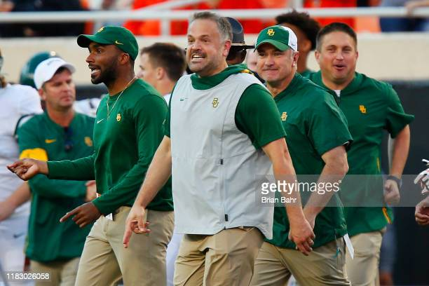 Head coach Matt Rhule of the Baylor University Bears grins after defeating the Oklahoma State Cowboys on October 19 2019 at Boone Pickens Stadium in...
