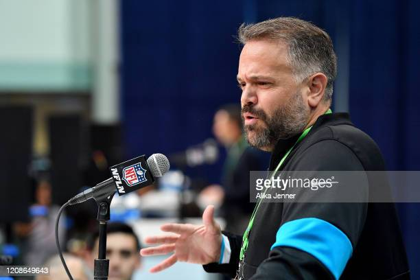 Head coach Matt Rhule of the Carolina Panthers interviews during the first day of the NFL Scouting Combine at Lucas Oil Stadium on February 25 2020...