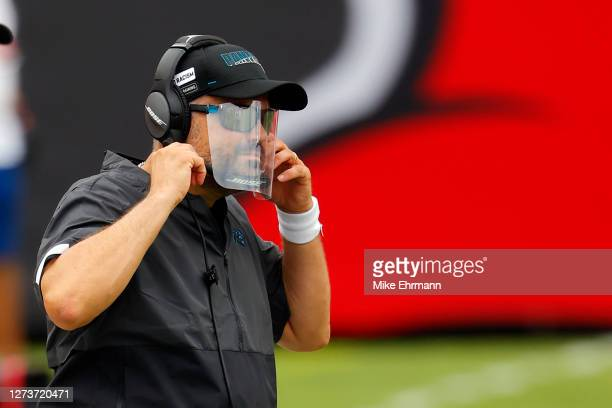 Head coach Matt Rhule of the Carolina Panthers looks on during the first half against the Tampa Bay Buccaneers at Raymond James Stadium on September...