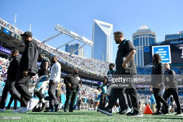 Head coach Matt Rhule of the Carolina Panthers walks off the field at halftime against the Minnesota Vikings at Bank of America Stadium on October...