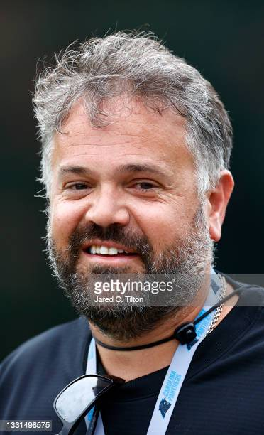 Head coach Matt Rhule of the Carolina Panthers walks the field prior to Panthers Training Camp at Wofford College on July 30, 2021 in Spartanburg,...