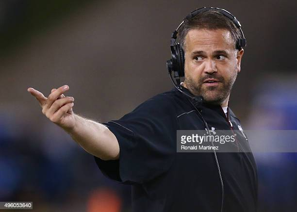 Head coach Matt Rhule of the Temple Owls during play against the Southern Methodist Mustangs in the first half at Gerald J Ford Stadium on November 6...