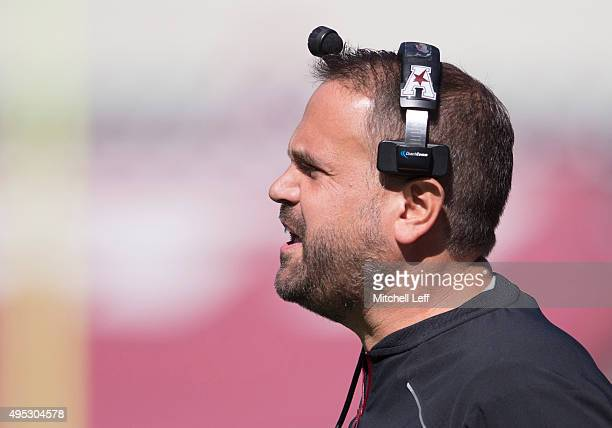 Head coach Matt Rhule of the Temple Owls looks on during the game against the Tulane Green Wave on October 10 2015 at Lincoln Financial field in...