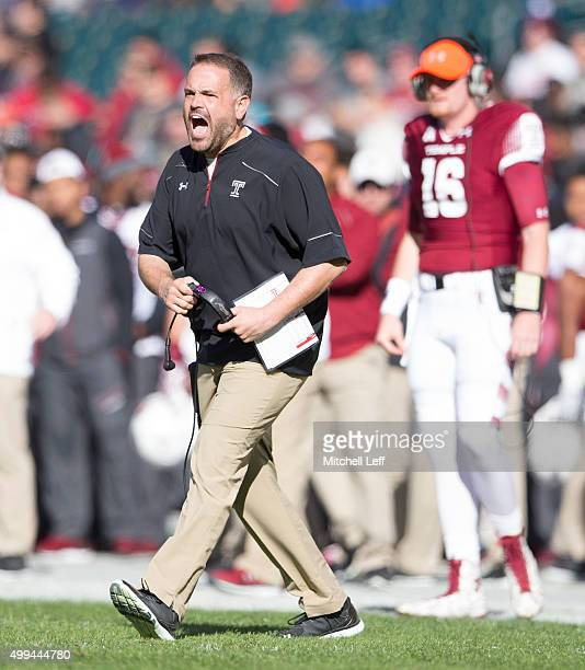 Head coach Matt Rhule of the Temple Owls reacts during the game against the Memphis Tigers on November 21 2015 at Lincoln Financial Field in...