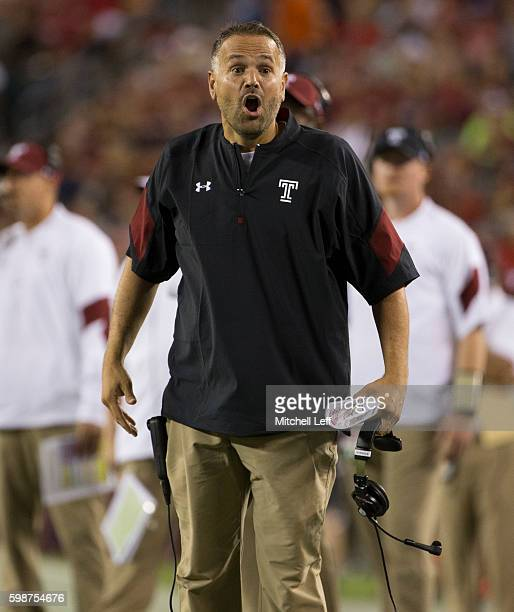 Head coach Matt Rhule of the Temple Owls reacts during the second quarter against the Army Black Knights at Lincoln Financial Field on September 2...