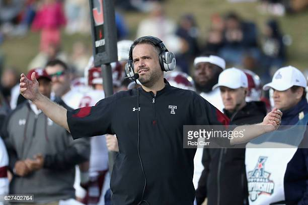 Head coach Matt Rhule of the Temple Owls reacts to a play in the second quarter against the Navy Midshipmen during the AAC Championship game at...