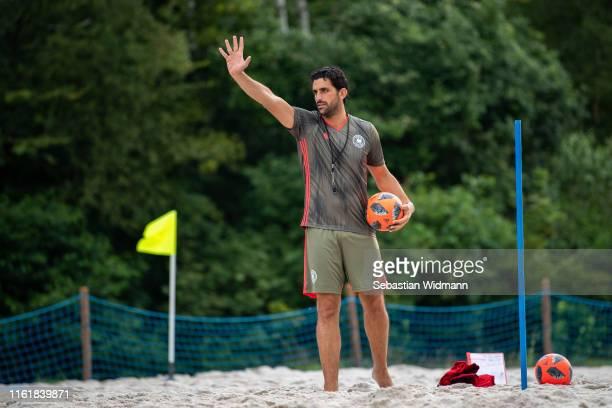 Head coach Matteo Marrucci gestures the German Beachsoccer National Team Presentation on July 13, 2019 in Oberschleissheim, Germany.