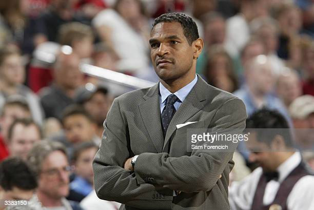 Head coach Maurice Cheeks of the Portland Trail Blazers looks on during the game against the New Orleans Hornets at the Rose Garden on April 3 2004...