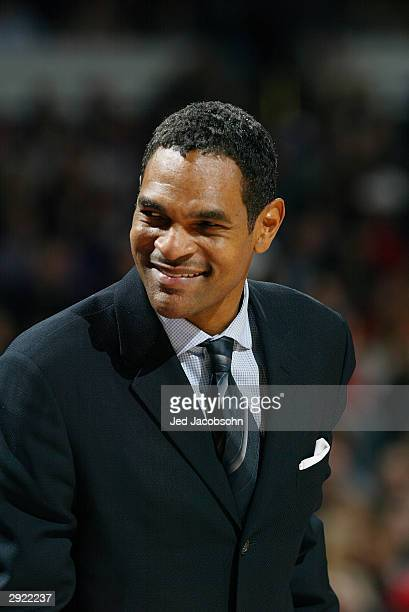 Head coach Maurice Cheeks of the Portland Trail Blazers smiles during the game against the Sacramento Kings at Arco Arena on January 20 2004 in...