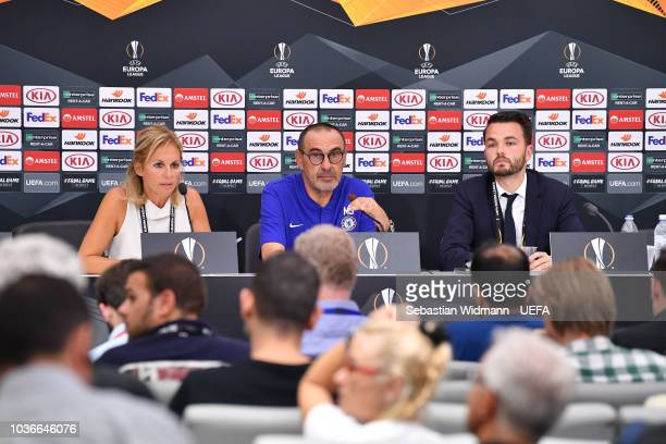 Head coach Maurizio Sarri of Chelsea attends the press conference after the UEFA Europa League Group L match between PAOK and Chelsea at Toumba...
