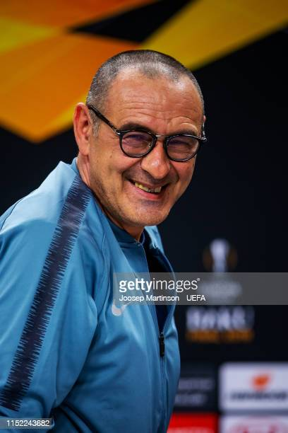 Head coach Maurizio Sarri of Chelsea speaks to the media during press conference ahead of the UEFA Europa League Final between Chelsea and Arsenal at...