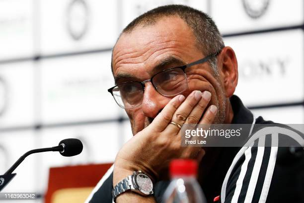 Head coach Maurizio Sarri of Juventus attends a press conference after the International Champions Cup match between Juventus and FC Internazionale...