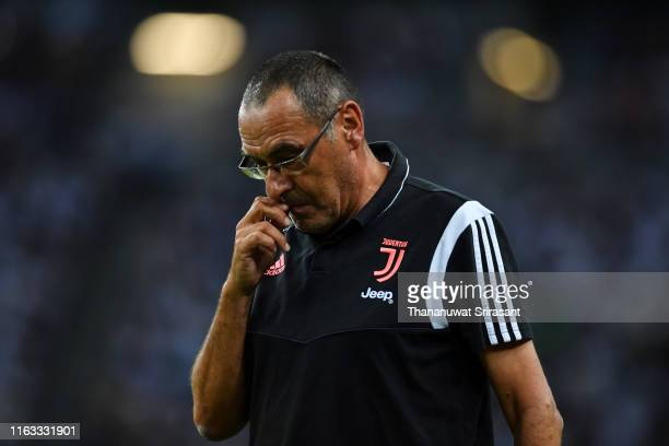 Head coach Maurizio Sarri of Juventus is seen during the International Champions Cup match between Juventus and Tottenham Hotspur at the Singapore...
