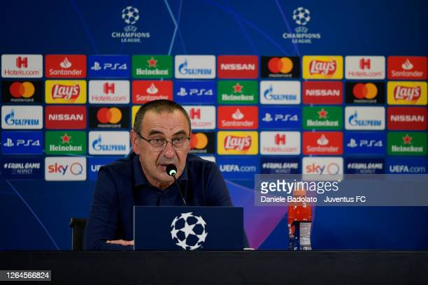 Head coach Maurizio Sarri of Juventus speaks during a press conference after the UEFA Champions League round of 16 second leg match between Juventus...
