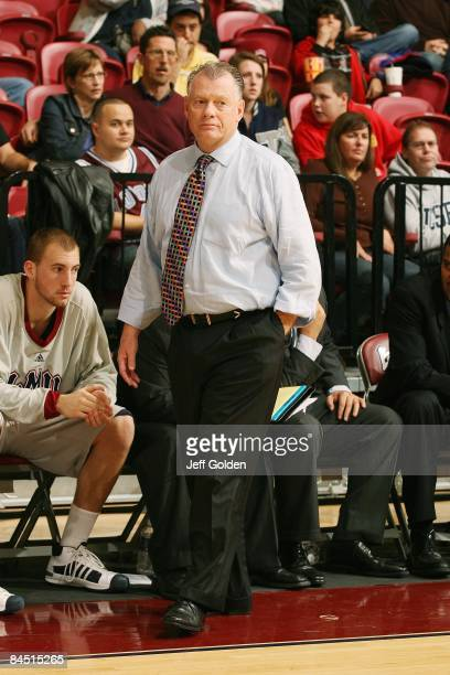 Head coach Max Good of the Loyola Marymount Lions looks on against the Gonzaga Bulldogs on January 24 2009 at Gersten Pavilion in Westchester...