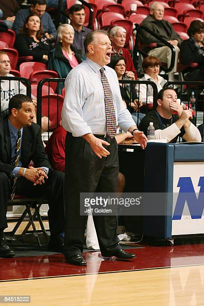Head coach Max Good of the Loyola Marymount Lions reacts against the Gonzaga Bulldogs on January 24 2009 at Gersten Pavilion in Westchester...