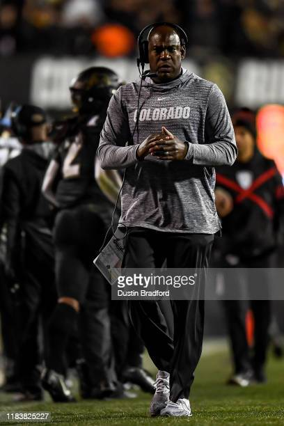 Head coach Mel Tucker of the Colorado Buffaloes walks along the sideline during a game against the USC Trojans at Folsom Field on October 25 2019 in...