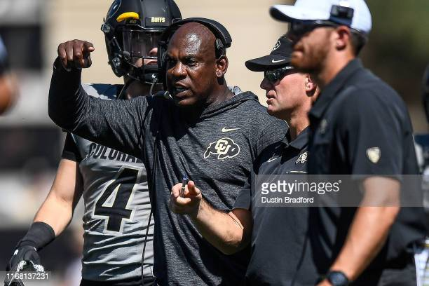 Head coach Mel Tucker of the Colorado Buffaloes walks on the field during a timeout during a game against the Air Force Falcons at Folsom Field on...