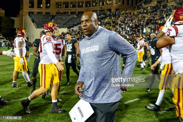 Head coach Mel Tucker of the Colorado Buffaloes walks on the field after a 3531 loss to the USC Trojans at Folsom Field on October 25 2019 in Boulder...