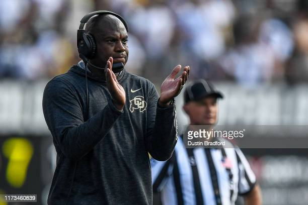 Head coach Mel Tucker of the Colorado Buffaloes works during a timeout during a game against the Nebraska Cornhuskers at Folsom Field on September 7...