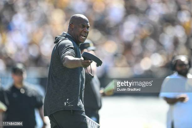 Head coach Mel Tucker of the Colorado Buffaloes yells from the sideline in the fourth quarter of a game against the Air Force Falcons at Folsom Field...