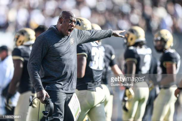 Head coach Mel Tucker of the Colorado Buffaloes yells to his players in the fourth quarter of a game against the Nebraska Cornhuskers at Folsom Field...