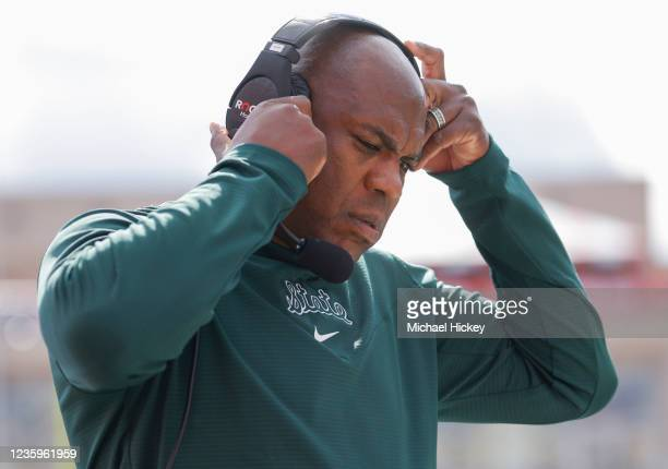 Head coach Mel Tucker of the Michigan State Spartans is seen during the game against the Indiana Hoosiers at Indiana University on October 16, 2021...