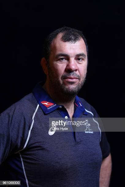 Head Coach Michael Cheika poses during the Australian Wallabies headshot session on May 7 2018 in Gold Coast Australia