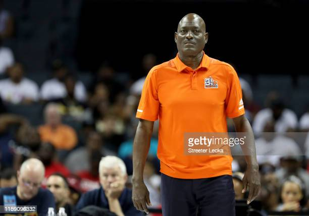 Head coach Michael Cooper of 3's Company reacts against Killer 3s during week two of the BIG3 three on three basketball league at Spectrum Center on...